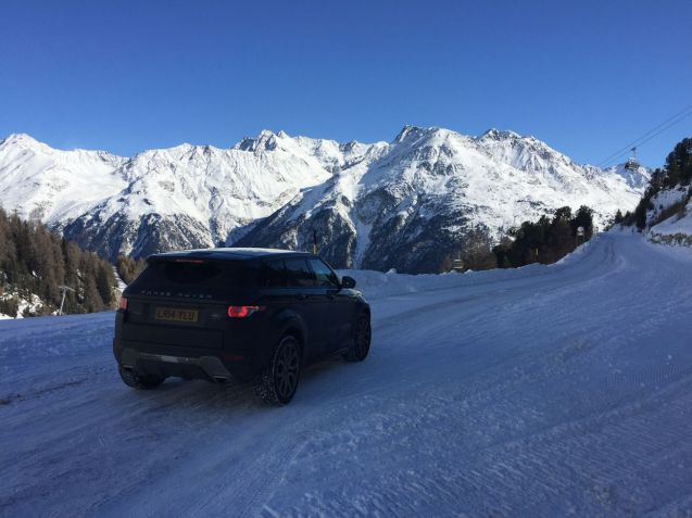 Our All-Season tyre shod Range Rover Evoque on the Otztal Glacier Road, Austria, February 2016