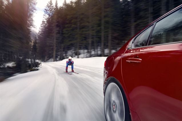Ski world speed record - training in the Austrian Alps behind a Jaguar XE. More later.