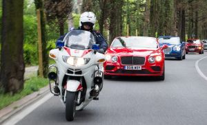 A police escort into Palazzo Vecchio in Florence for drivers on the latest Bentley Grand Drive. More later.