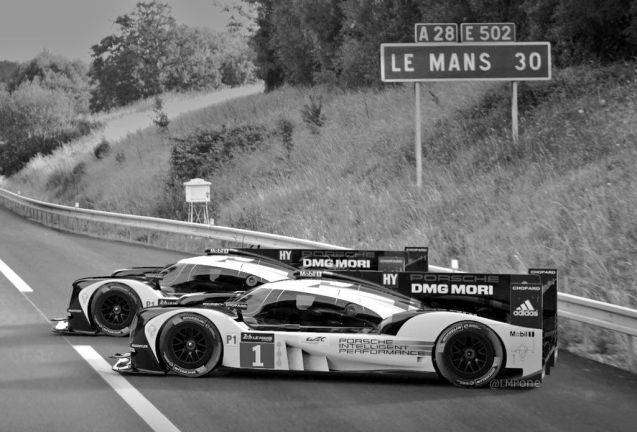 Porsche racers run out of fuel on the way to Le Mans. Not. Or at least not yet. Photo @FIAWEC