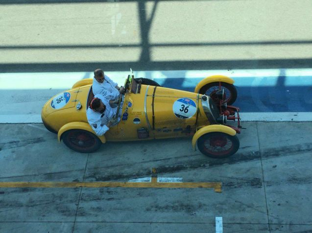 One writer describes the Mille Miglia as 'The Old Man's Gumball' but – apart from an upturned Austin Healey from which the occupants escaped 'almost unscathed' – the event seems to have passed off without major incident. The most obvious difference between the two is that police on the re-creation of Italy's storied road race rare the drivers on. Here #36 Giovanni Luca Murri and Massino Destro Castaniti pause after a lap of Monza in, fittingly, their 1927 B.N.C. 527 Monza. Photo @Lesmo27