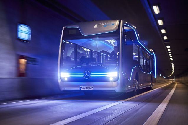 Mercedes-Benz in self-driving bus. More later.
